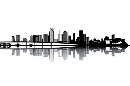 caribbean party: Horizonte de Miami - ilustraci�n vectorial blanco y negro