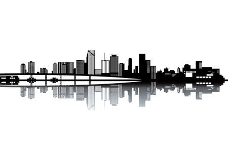 miami south beach: Miami skyline - black and white vector illustration