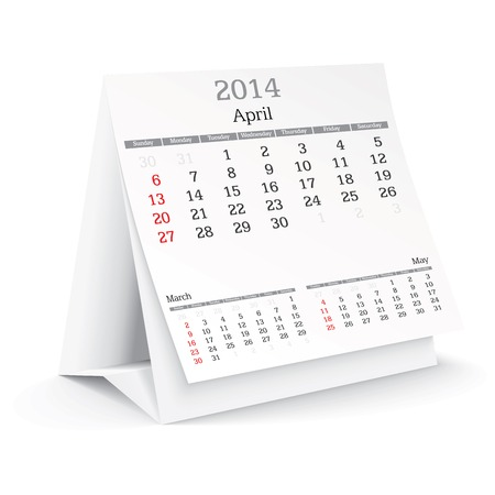 april 2014 - calendar - vector illustration Stock Vector - 24021367