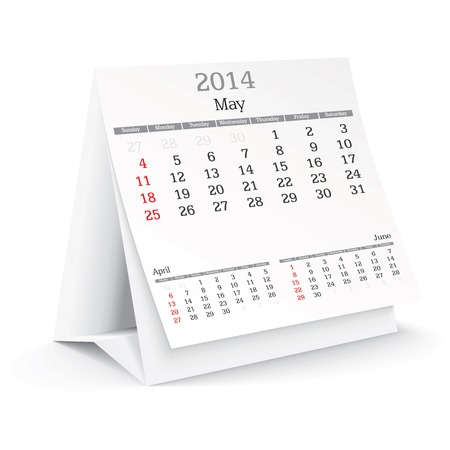 may 2014 - calendar - vector illustration Stock Vector - 24021366