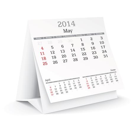 may 2014 - calendar - vector illustration Stock Vector - 24021366