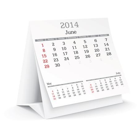 june 2014 - calendar - vector illustration Stock Vector - 24021368