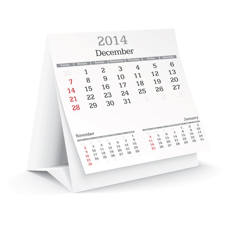 december 2014 - calendar - vector illustration Vector