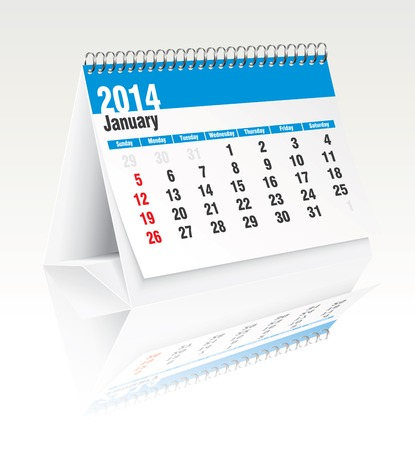 2014 desk calendar - vector illustration Stock Vector - 24199229