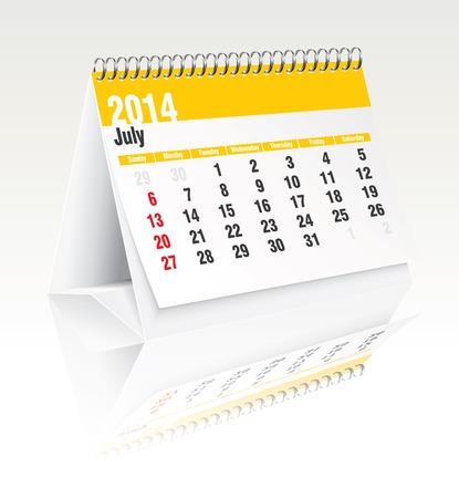 calendario da tavolo: 2014 calendario da tavolo - illustrazione vettoriale