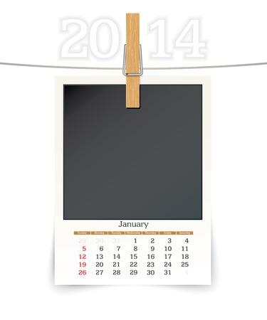 2014 photo frame calendar - vector illustration Stock Vector - 24225341