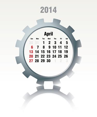 April 2014 - calendar - vector illustration Stock Vector - 24233468