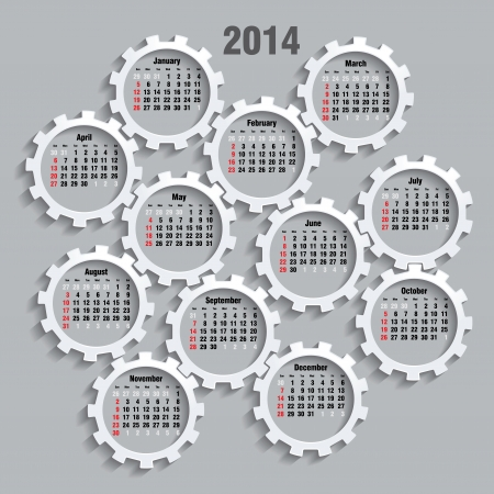 2014 calendar whith gears - vector illustration Vector