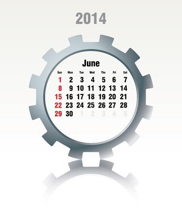 last day: June 2014 - calendar - vector illustration Illustration