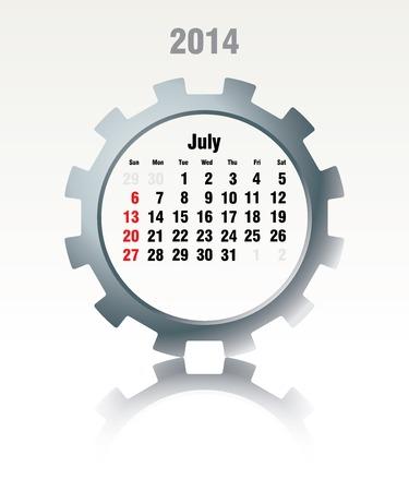July 2014 - calendar - vector illustration Vector