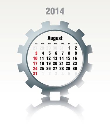 August 2014 - calendar - vector illustration Stock Vector - 24233595