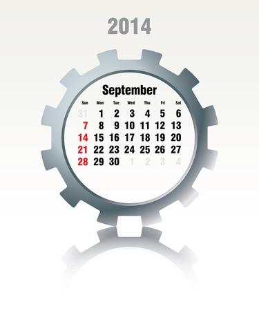 September 2014 - calendar - vector illustration Vector