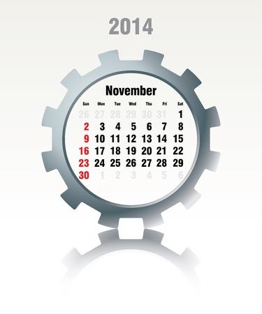 November 2014 - calendar - vector illustration Vector