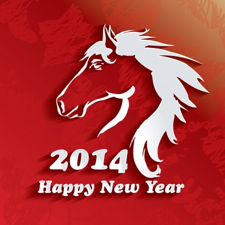 Year of the Horse  Happy New Year 2014 - vector illustration Stock Vector - 24476491
