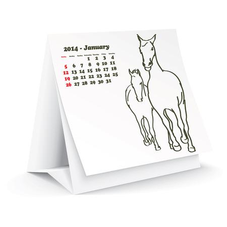 January 2014 desk horse calendar Stock Vector - 24751910