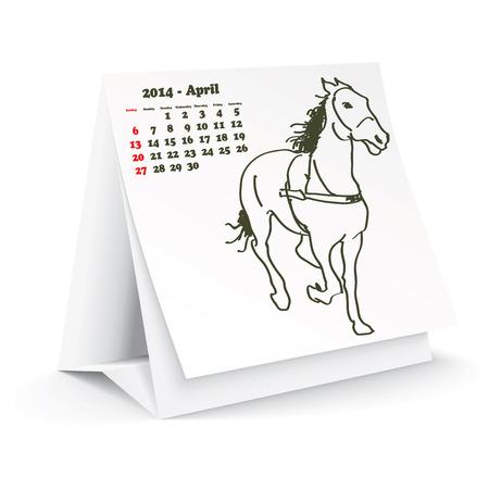 4월: April 2014 desk horse calendar