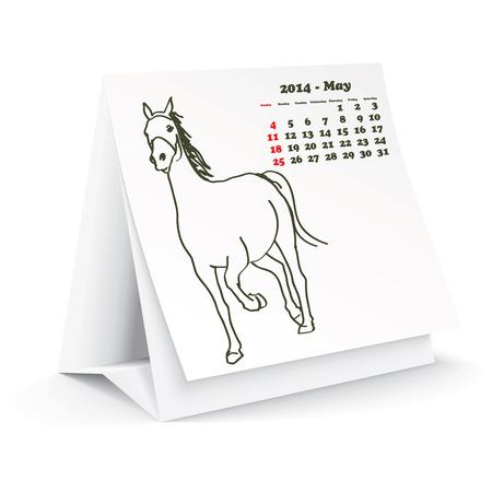 May 2014 desk horse calendar Stock Vector - 24751915