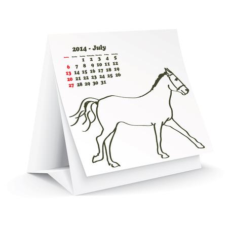 July 2014 desk horse calendar Stock Vector - 24751918
