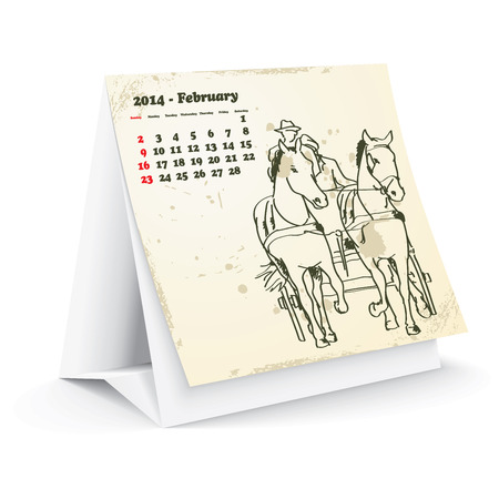 February 2014 desk horse calendar Stock Vector - 24751931