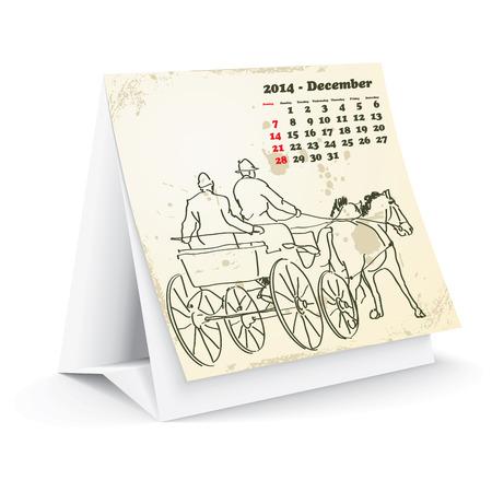 December 2014 desk horse calendar  Stock Vector - 24751959