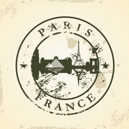 Grunge rubber stamp with Paris, France - vector illustration Vector