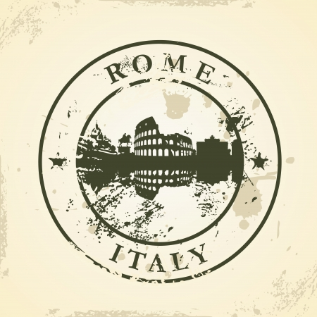Grunge rubber stamp with Rome, Italy - vector illustration Vector