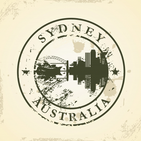 stamp passport: Grunge rubber stamp with Sydney, Australia - vector illustration