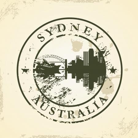 passaporto: Grunge timbro di gomma con Sydney, Australia - illustrazione vettoriale