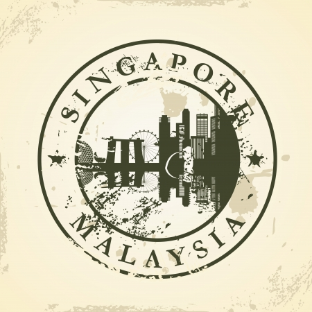 australia stamp: Grunge rubber stamp with Singapore, Malaysia - vector illustration