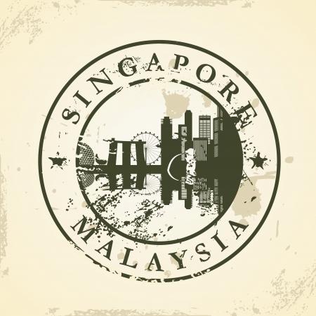 timbre en caoutchouc grunge avec Singapour, la Malaisie - illustration vectorielle