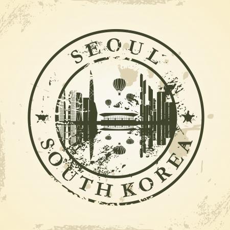 seoul: timbre en caoutchouc grunge avec S�oul, Cor�e du Sud - illustration vectorielle