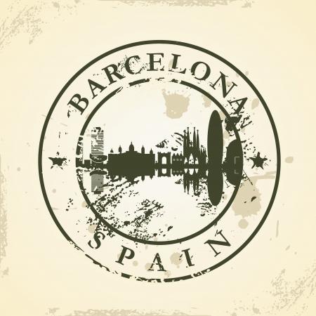 barcelona: Grunge rubber stamp with Barcelona, Spain - vector illustration Illustration