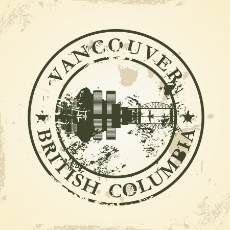 british columbia: Grunge rubber stamp with Vancouver, British Columbia - vector illustration Illustration