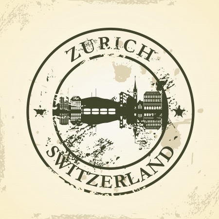 Grunge rubber stamp with Zurich, Switzerland - vector illustration Vector