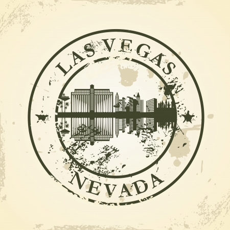 las vegas strip: Grunge rubber stamp with Las Vegas, Nevada - vector illustration