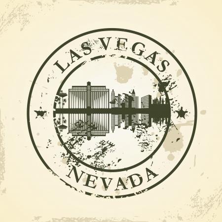 vegas strip: Grunge rubber stamp with Las Vegas, Nevada - vector illustration