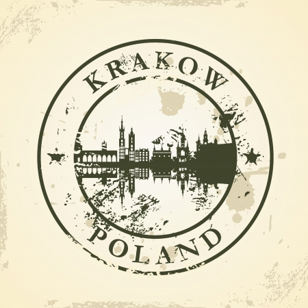 Grunge rubber stamp with Krakow, Poland - vector illustration Vector