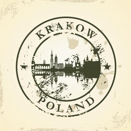 krakow: Grunge rubber stamp with Krakow, Poland - vector illustration Illustration
