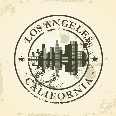 angeles: Grunge rubber stamp with Los Angeles, California - vector illustration Illustration