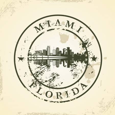 Grunge rubber stamp with Miami, Florida - vector illustration Vector