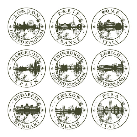 Grunge rubber stamps with London, Paris, Rome, Barcelona, Edinburgh, Zurich, Budapest, Krakow and Pisa - vector illustration Illustration