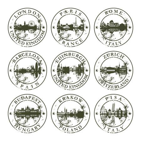 goma: Sellos de caucho de grunge con Londres, Par�s, Roma, Barcelona, ??Edimburgo, Zurich, Budapest, Cracovia y Pisa - ilustraci�n vectorial