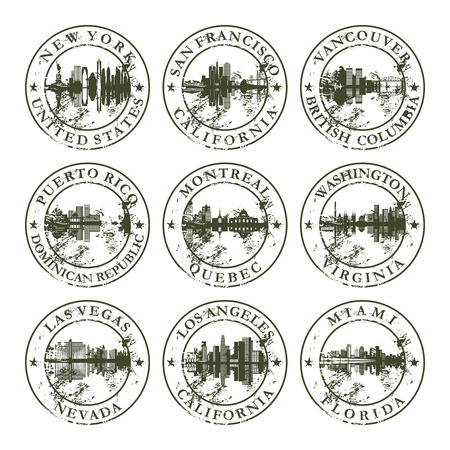 montreal: Grunge rubber stamps with New York, San Francisco, Vancouver, Puerto Rico, Montreal, Washington, Las Vegas, Los Angeles and Miami - vector illustration Illustration