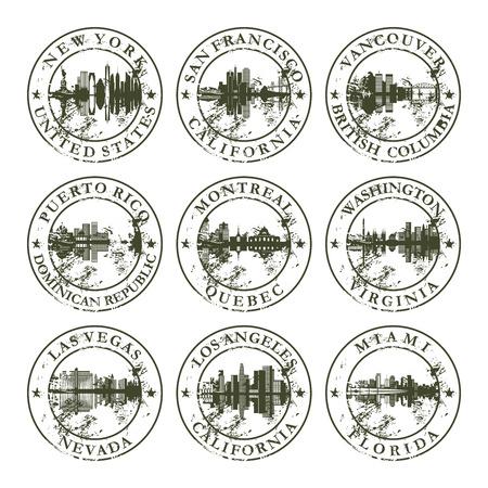 goma: Sellos de goma de Grunge con Nueva York, San Francisco, Vancouver, Puerto Rico, Montreal, Washington, Las Vegas, Los �ngeles y Miami - ilustraci�n vectorial