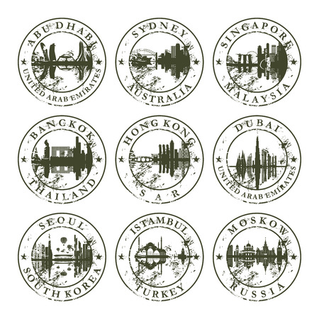 Grunge rubber stamps with Abu Dhabi, Sydney, Singapore, Bangkok, Hong Kong, Dubai, Seoul, Istambul and Moskow - vector illustration Vector