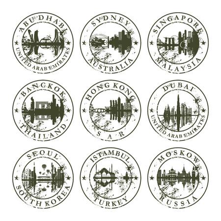 passaporto: Timbri in gomma grunge con Abu Dhabi, Sydney, Singapore, Bangkok, Hong Kong, Dubai, Seoul, Istanbul e Mosca - illustrazione vettoriale