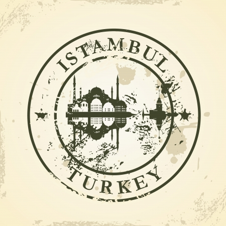 Grunge rubber stamp with Istambul, Turkey - vector illustration Vector