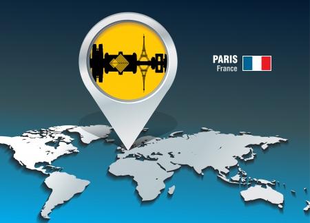 paris skyline: Map pin with Paris skyline - vector illustration