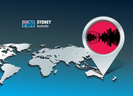 sydney skyline: Map pin with Sydney skyline - vector illustration