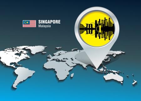 singapore skyline: Map pin with Singapore skyline - vector illustration